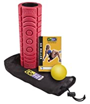 GoFit GoRoller Massage Roller with Myofascial Release Ball, Mesh Carry Bag and Exercise Manual, Red