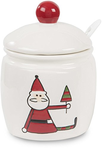 Pavilion Gift Company Holiday Hoopla Santa Ceramic Christmas Sugar Holder with Spoon, 4.5