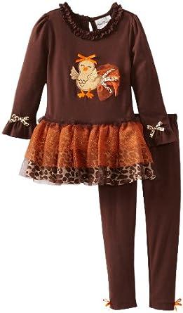 Rare Editions Little Girls' Turkey Applique Tutu Legging Set Toddler, Brown, 3T