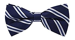 Scott Allan Mens Silk Twin Stripe Bow Tie - Navy Blue/White