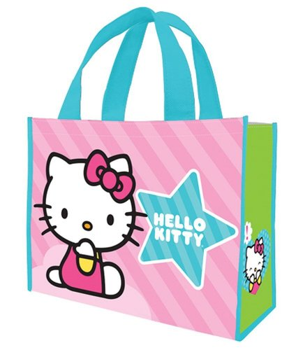 Vandor 18673 Hello Kitty Stripes Large Recycled Shopper Tote, Pink