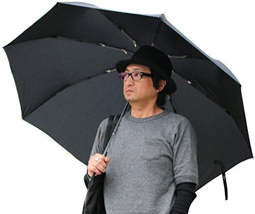 (マルカワジーンズパワージーンズバリュー) Marukawa JEANS POWER JEANS VALUE 傘 メンズ 紳士 折りたたみ傘 Big 70cm 大きいサイズ 強化骨仕様 5color Free ブラック