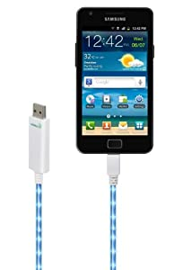 Dexim DWA065WL Visible Green Smart Charger w/ Micro-USB for Smartphones (White/Blue)