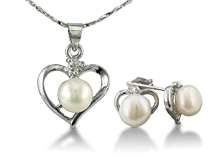 Heart Shaped Freshwater Pearl Pendant and Earrings Set
