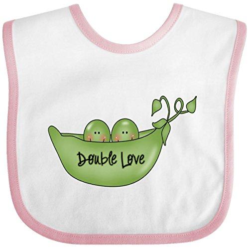 Inktastic Baby Boysâ€Tm Double Love Peas Twins Baby Bib One Size White/Pink