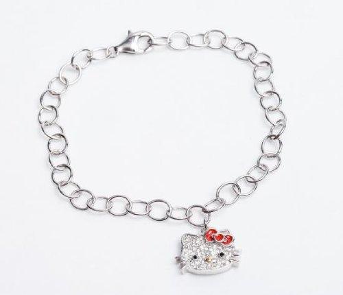 [Hello Kitty US limited edition] red Hello Kitty Ribbon enamel & Crystal bracelet
