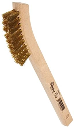 "Weiler 0.008"" Wire Size, 8-3/4"" X 1/2"" Block Size, 2 X 9 No. Of Rows, Crimped Brass Bristles, Wood Block, Small Hand Scratch Brush"