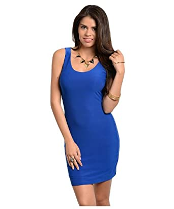 G2 Chic Women's Sleeveless Racerback Bodycon Dress(DRS-CAS,BLUA3-S)