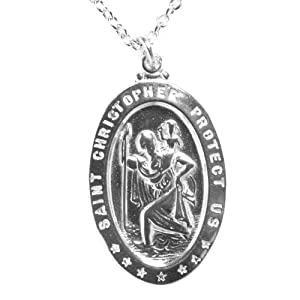 Saint Christopher Silver Dipped Pendant Necklace on 18