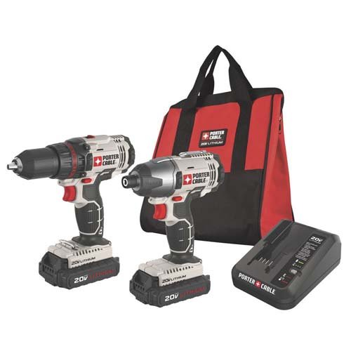 Factory-Reconditioned-Porter-Cable-PCCK604L2R-20V-Cordless-Lithium-Ion-Drill-And-Impact-Driver-Kit