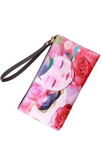 Pelle di X Donne Moda a lungo Phone Bag raccoglitore di modo nuovi femminile frizione borsetta semplicitoportafoglio classico colore 15