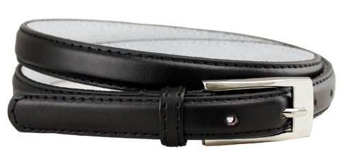"New Classy Womens Skinny Leather Belt with Shiny Buckle Many Colors S-XL (L(37""-41""), Black)"