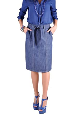 style j pencil knot denim skirt at women s clothing