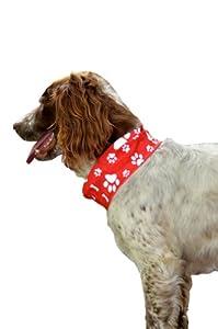 REFLECTIVE RED PAW & BONE PRINT DOG SCARF/COLLAR/BANDANA - RUFFNEK® - BE SAFE, BE SEEN