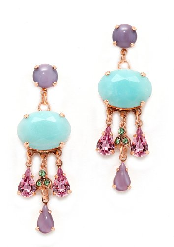 24K Rose Gold Plated Dangle Earrings from 'Spring Vibration' Collection by Amaro Jewelry Studio Crafted with Leaf Details and Tear Drops, Enhanced with Rainbow Fluorite, Labradorite, Lavender Cape Amethyst, Amethyst, Amazonite and Swarovski Crystal Accent