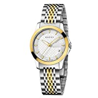 Gucci G-Timeless Collection Women's Quartz Watch with Silver Dial Analogue Display Stainless steel and Yellow Gold PVD Case and Bracelet YA126511