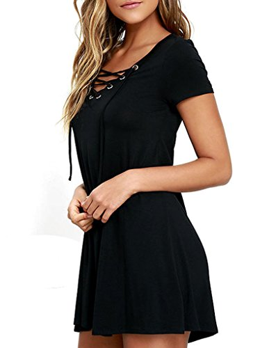 annflat-womens-casual-v-neck-lace-up-short-sleeve-a-line-swing-mini-dress-medium-black