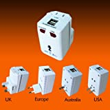 Foxnovo-Universal-All-in-one-US-EU-UK-AU-Plug-Travel-Wall-Charger-AC-Power-Adapter-with-USB-Output-White