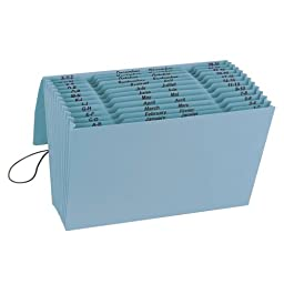 Smead 100% Recycled Expanding File, Multi-Indexed (A-Z, Jan.-Dec. and Daily), 12 Pockets, Flap and Cord Closure, Legal, Blue Moon ( 70799)