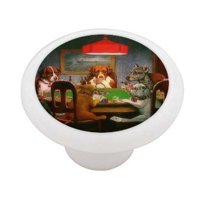Poker Dogs Decorative High Gloss Ceramic Drawer Knob