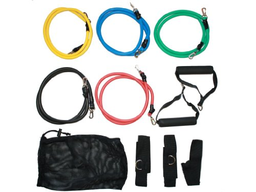 Set of 5 Premium Stackable Latex Exercise Resistance Bands Tubes Cords w/ Door Anchor and Ankle Straps