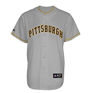 MLB Majestic Pittsburgh Pirates Replica Jersey-Gray by Majestic