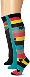 Steve Madden Legwear Womens 3 Pack Fashion Stripe and Heart Kh