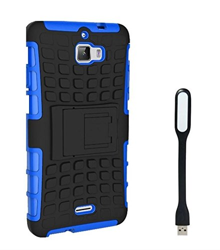 Chevron Tough Hybrid Armor Back Cover Case with Kickstand for Coolpad Dazen 1 With Mini USB LED Light Lamp (Blue)