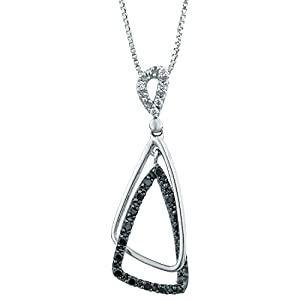 Metro Jewelry Sterling Silver Pendant with Black and White .16 cttw Diamonds