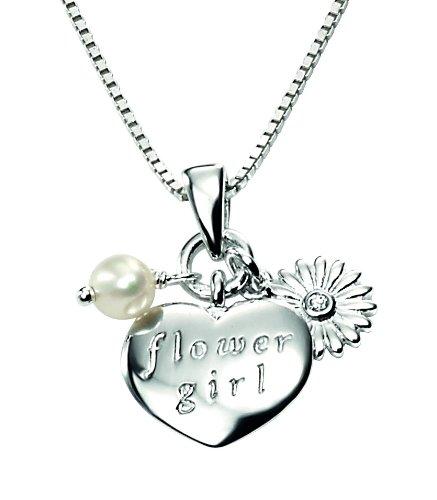 D for Diamond Sterling Silver Diamond Set P3114W Flower Girl Pendant Length 36-41cm