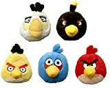 Angry Birds Plush - Set of 5 Birds (Red, Yellow, White, Blue and Black - 5 inch) -Officially Licensed by Rovio