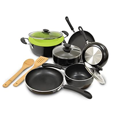 Ecolution Heavyweight 12-Piece Cookware Set ,Black