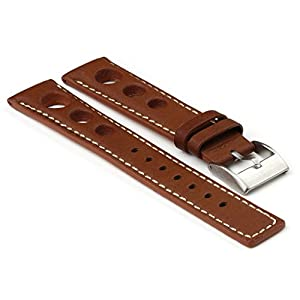StrapsCo Brown GT Rally Racing Leather Watch Strap in size 20mm