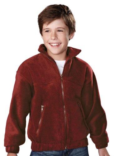 Tri-Mountain Youth Heavyweight Full Zip Fleece Jacket, Maroon, Large front-690551
