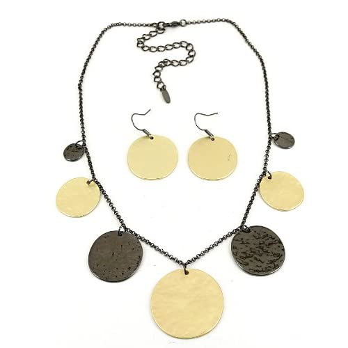 Fashion Jewelry Desinger Inspired Gold and Black Necklace and Earrings Set