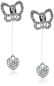 "Betsey Johnson ""Crystal Rhodium"" Butterfly and Heart Drop Earrings"