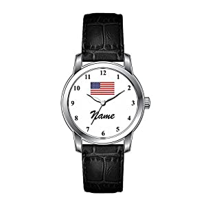 AMS Christmas Gift Watch Women's Vintage Design Leather Black Band Wrist Watch Men's Watches With Custom Name and American Flag
