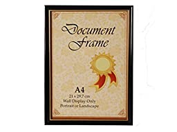 A4 Certificate Frame Black with Gold Stripe, PVC, Graduation, Business