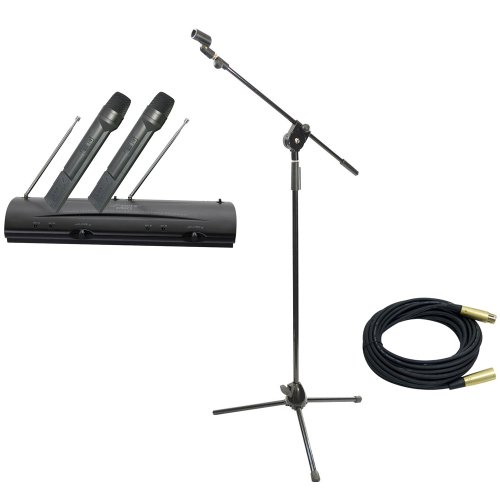 Pyle Mic And Stand Package - Pdwm2100 Professional Dual Vhf Wireless Handheld Microphone System - Pmks3 Tripod Microphone Stand W/ Extending Boom - Ppmcl30 30Ft. Symmetric Microphone Cable Xlr Female To Xlr Male
