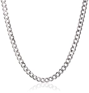 """14k White Gold 2.6mm Cuban Curb Chain Necklace, 24"""""""