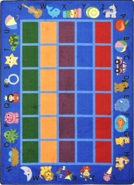 "Joy Carpets Kid Essentials Early Childhood Alphabet Phonics Rug, Blue, 5'4"" x 7'8"""