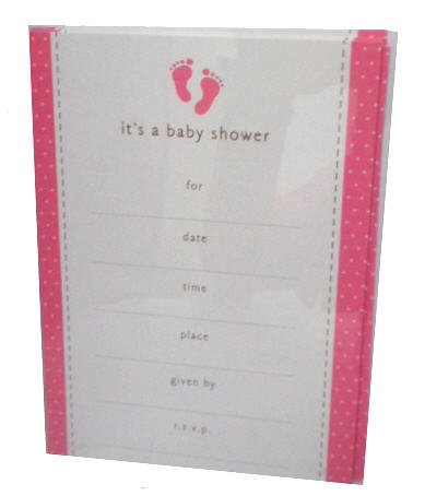 Its A Baby Shower Baby Girl Pink Polka Dot Party Invitations Cards
