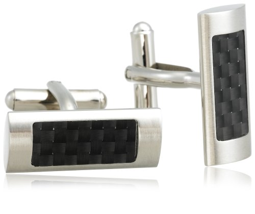 Men's Stainless Steel Cuff Links with Carbon Detail