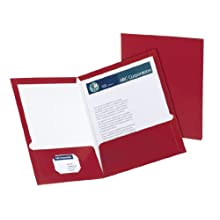 Oxford 51718 Laminated Two-Pocket Portfolios, 100 Sheet Capacity, Maroon, 25/Box
