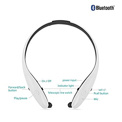 Bluetooth Headphone, SELENECHEN HBS-950 Wireless Headset with Mic Stereo Neckband Noise Cancelling Hand-free Sports Earphone Retractable Earbuds for IOS, Android and Other Bluetooth Devices (White)
