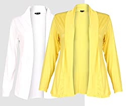 Ten on Ten Womens Pair of Yellow/ White Long Shrug