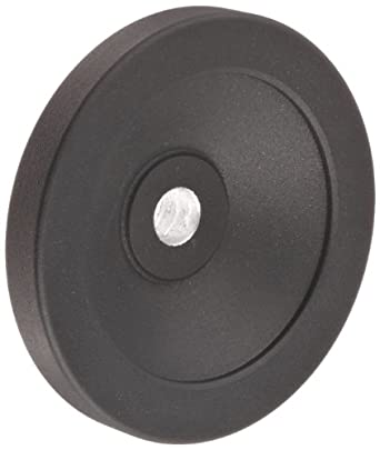"Black Powder Coated Aluminum Dished Hand Wheel without Handle, 3-15/16"" Diameter, 1/2"" Hole Diameter (Pack of 1)"