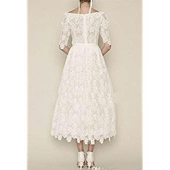 DreHouse Women's Vintage Lace Long Sleeve Wedding Dresses Tea Length