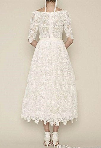 DreHouse Women's Vintage Lace Long Sleeve Wedding Dresses Tea Length 2