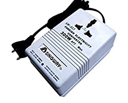 Multiple Functions 300 Watts International Travel Voltage Converter For 220V To 110V Or 110V To 220V AC 55 / 60HZ, Ideal For Laptops, Camera, Iphones, Blackberry, iPod And Other Watts Below 200W Devices-White